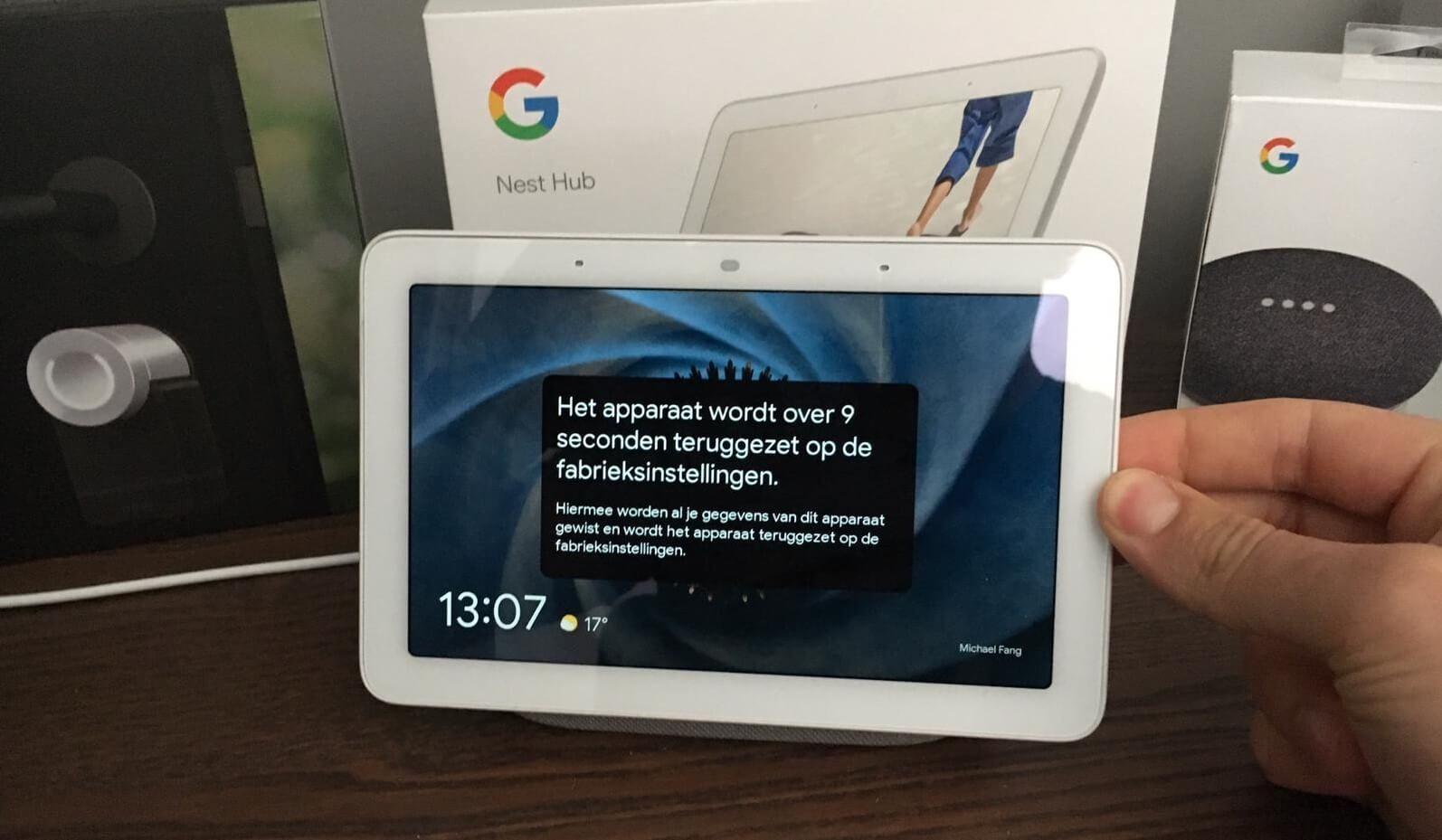 google nest hub resetten