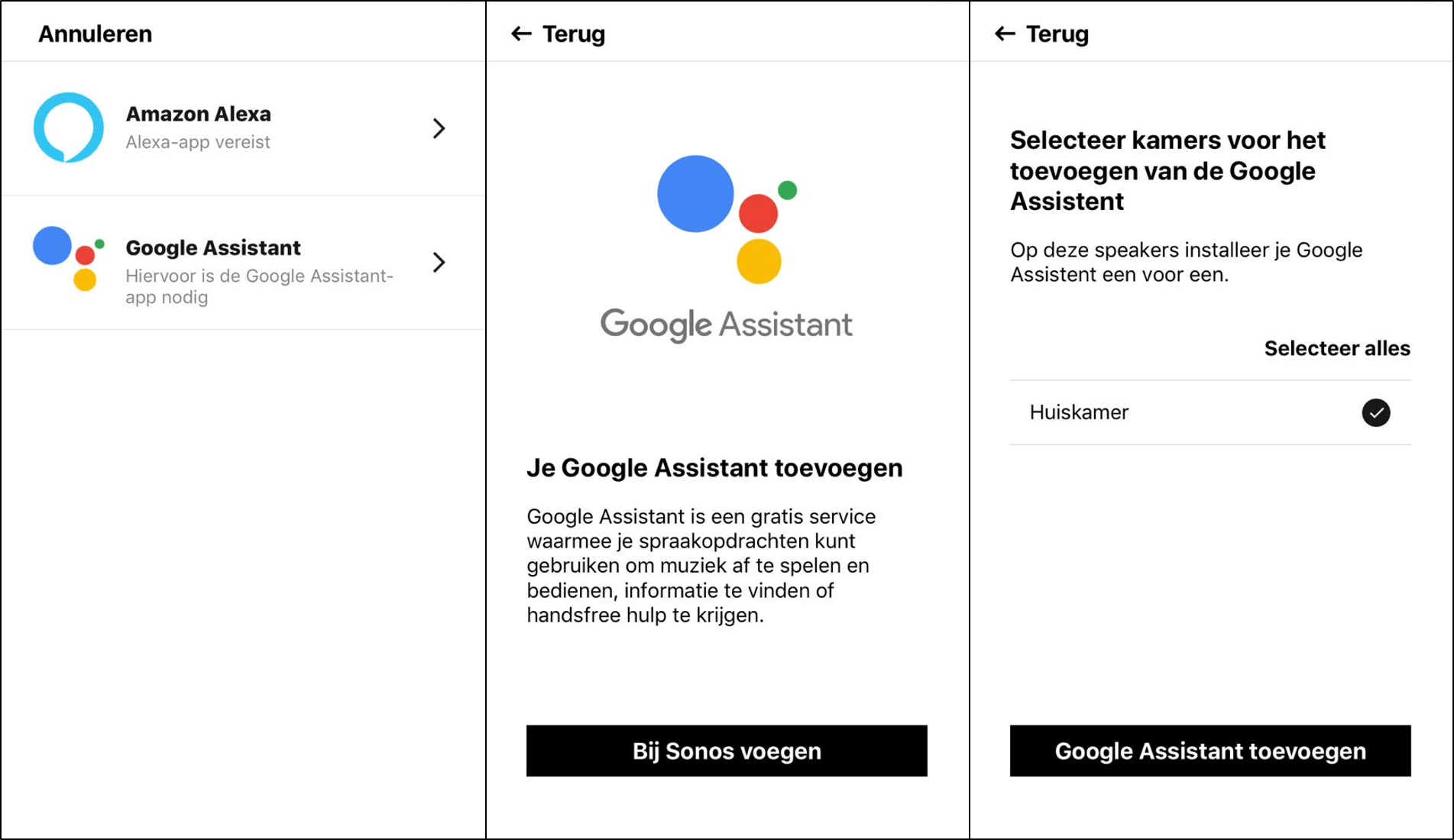 stappen google assistent activeren sonos